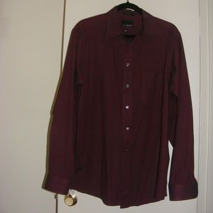Bill Blass Wrinkle Free Burgundy Button Down